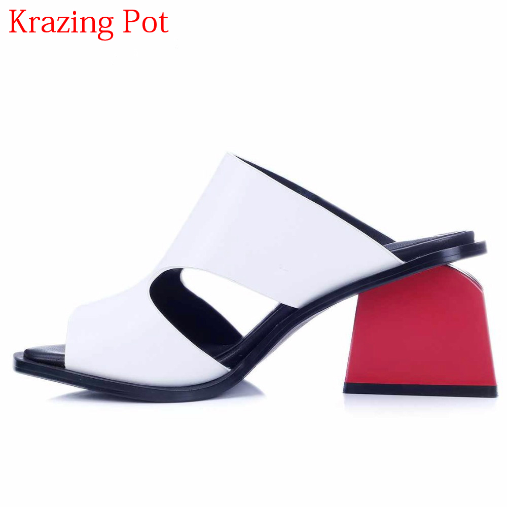 2019 Slingback Genuine Leather Peep Toe Slip on Mules for Women Red High Heels Mixed Colors