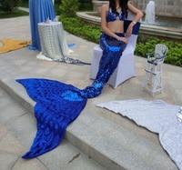 Luxury Rhinestone Beading Blue Adult Womens Ladies Full Sequins Mermaid Tail With Beading Top Ariel Mermaid