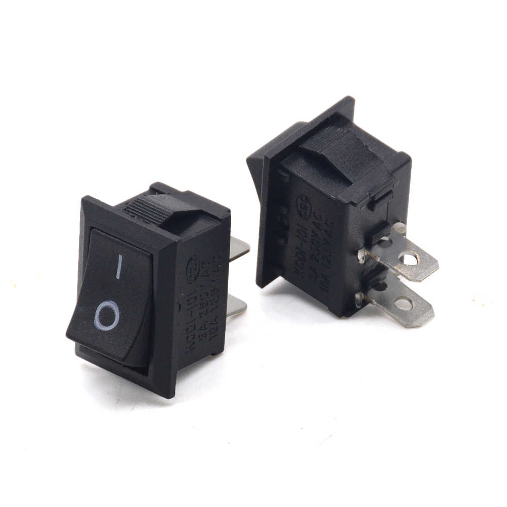 5 unidades/lotes 2pin snap-in de ligar/desligar KCD1-101 carro barco redondo rocker toggle spst switch 125 v 6a
