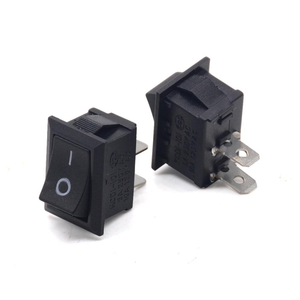 5 unids/lote 2Pin Snap-en/de KCD1-101 coche barco ronda conmutador Rocker SPST interruptor 125V 6A
