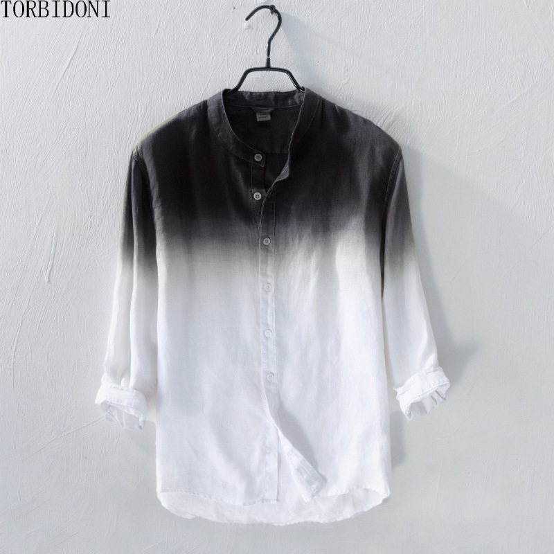 Slim Fit Mens Linen Shirt Men Gradient Shirts New Spring Fashion Chemise Homme Mens Blouse Shirts Long Sleeve Shirt Men Blouse