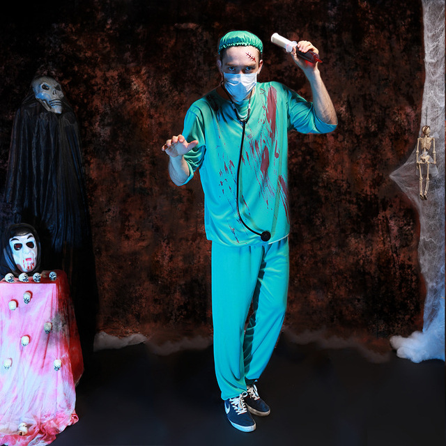 f885620dc034e Free Shipping,adult Halloween Party Cosplay Horror Clothes Bloody Scary  Girl Nurse Costume Dress And Doctor Clothes