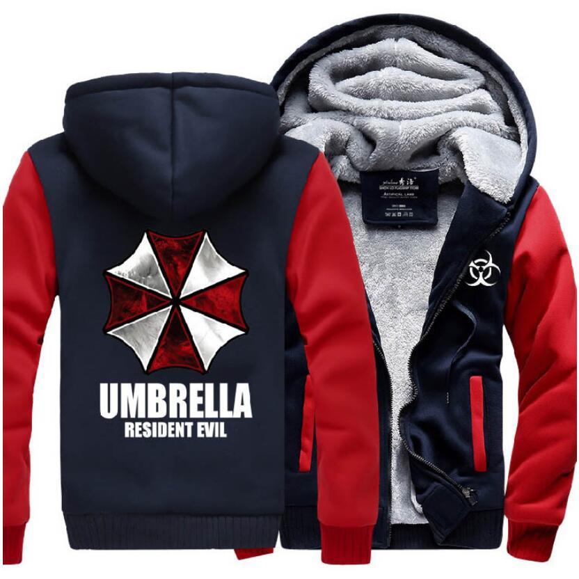 Resident Evil Umbrella Hoodies 2017 winter new warm fleece Anime umbrella men sweatshirts high quality men