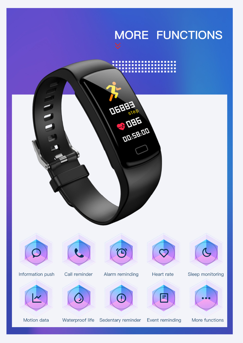 Image 4 - Smart band bracelet Heart Rate monitor Fitness Tracker blood pressure waterproof sports smart watch for andriod ios fashion Hot-in Smart Wristbands from Consumer Electronics