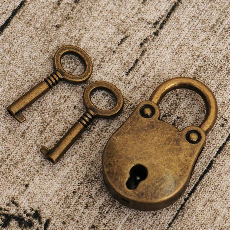Metal Old Vintage Styles Mini Padlock Small Luggage Box Keys Lock Coppers Color