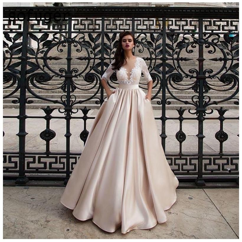 Champagne Wedding Dresses With Pocket Vestido Noiva Elegant Satin Lace Half Sleeves Bridal Dress Floor Length Wedding Gowns 2020