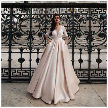 Elegant Satin Wedding Dresses With Pocket Vestido Noiva Lace Half Sleeves Wedding Gowns Floor Length Champagne Bride Dress 2020 - DISCOUNT ITEM  30% OFF All Category