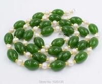 Słodkowodne perły białe pobliżu okrągłych i TAJWAN jades kamień naszyjniki 28 inch natura koraliki hurtownie rabaty jaj