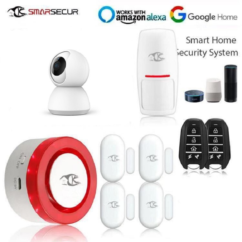 Smart WiFi Alarm Siren Home Security Siren kits iOS Android Smart Life APP Notification+Tuya Ip camera