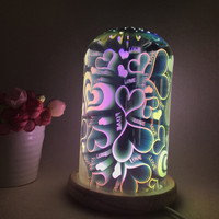 GERUITE 3D Colorful Glass Night Light Heart shaped Bedside Table Lamp Mood Light LED Bedroom Romantic Desk Lamps USB LED Lamps