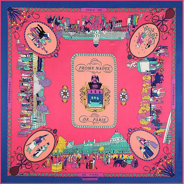 Elegant Women Twill Silk Large Square Scarf Exquisite Pashmina Walk The Street Of Paris Shawl 130cm Luxury Pure Silk Scarf