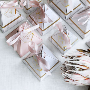 Image 4 - 50pcs/100pcs New Pyramid Style Candy Box Chocolate Box Wedding Favors Gift Boxes With THANKS Card & Ribbon Party Supplies
