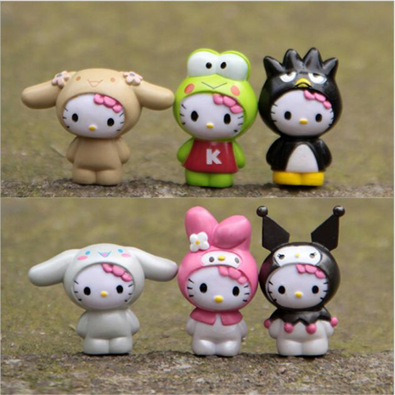 6pcs/set hello kitty Home Decoration Mini Toys Handicrafts Miniatures Colorful  Action Figures Collection Model Toys free shipping hello kitty toys kitty cat fruit style pvc action figure model toys dolls 12pcs set christmas gifts ktfg010
