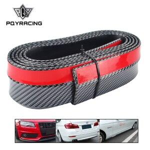 PQY - Real Carbon fiber Rubber Soft Black bumper Strip Car 60mm Width 2.5m length Exterior Front Bumper Lip Kit Bumper Car