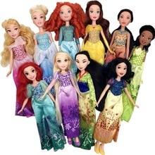 Long hair princess Dolls Aurora/Cinderella/Mulan/Jasmine/Merida/Tiana/Ariel/Pocahontas/Belle/Elsa/Rapunzel High quality doll toy