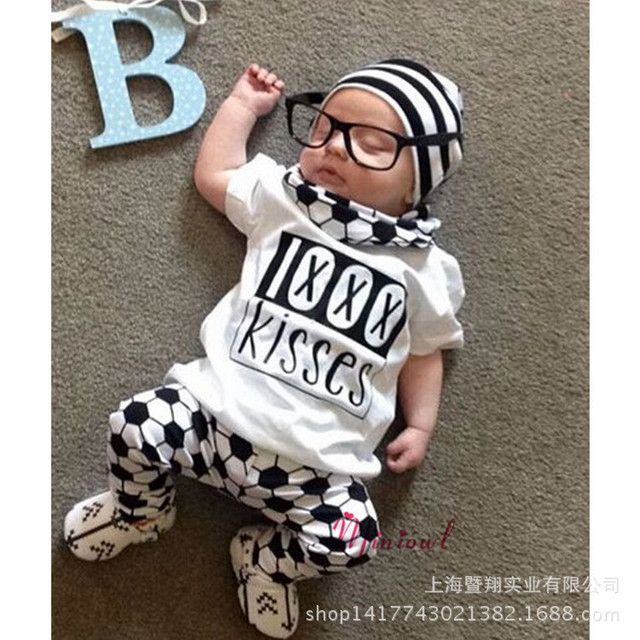 baby clothing 2016 Kids Baby Boys Short Sleeves T-shirt + Pants Clothes Outfits Leisure Suit 2pcs/Set