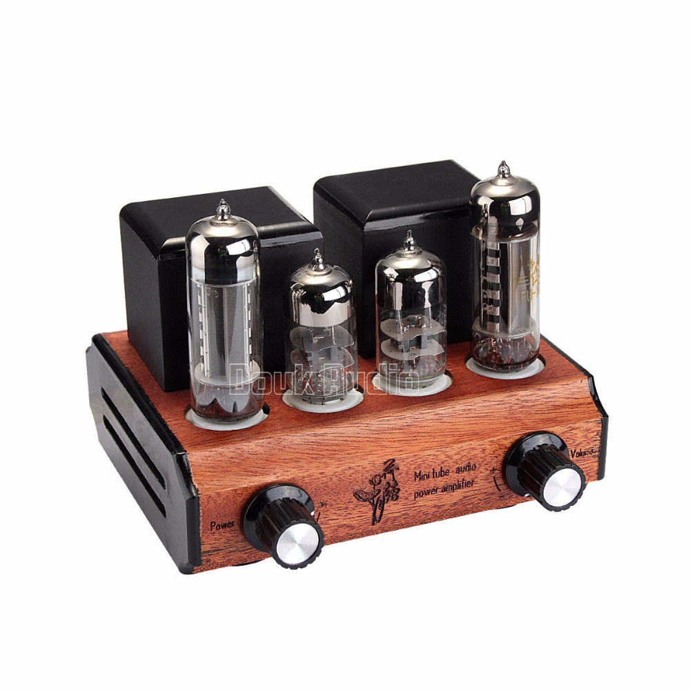 Douk Audio Mini 6C3+FU17 Vacuum&Valve Tube Amplifier Stereo Single-Ended Class A 2.0 Channel  Desktop Power Amp 2.5W*2 appj pa1501a mini stereo 6ad10 vintage vacuum tube amplifier desktop hifi home audio valve tube integrated power amp