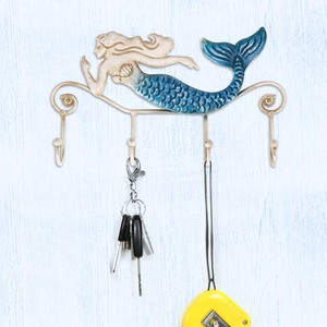 Tooarts Iron Wall Hook Iron Mermaid Wall Hanger 4 Hooks for Coats Towels Bags Wall Mount Clothes Holder Screws Included