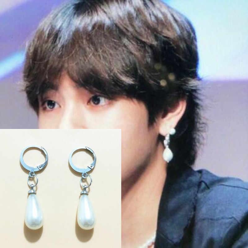 1 пара Jin Jimin серьги Kpop Bangtan мальчики корейские жемчужные гвоздики для мужчин