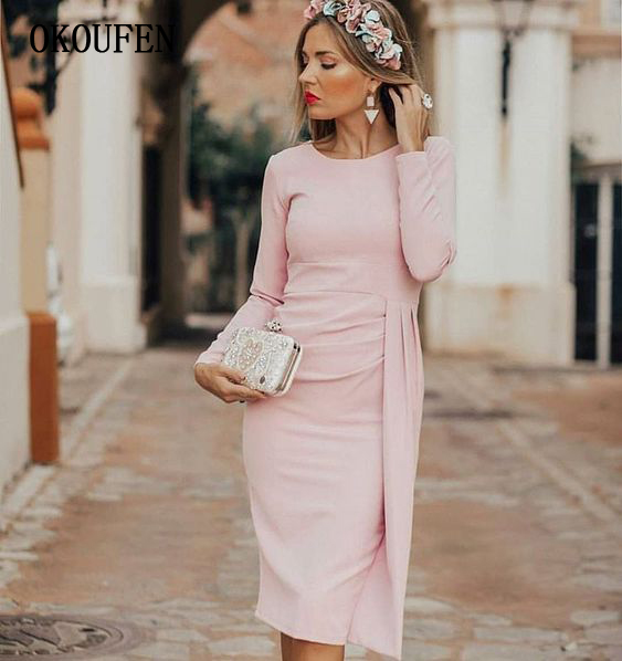 Simple Short Mother Of The Bride Dresses For Wedding 2019 Knee Length Long Sleeve Draped Pink Pencil Vestido De Madrinha Farsali