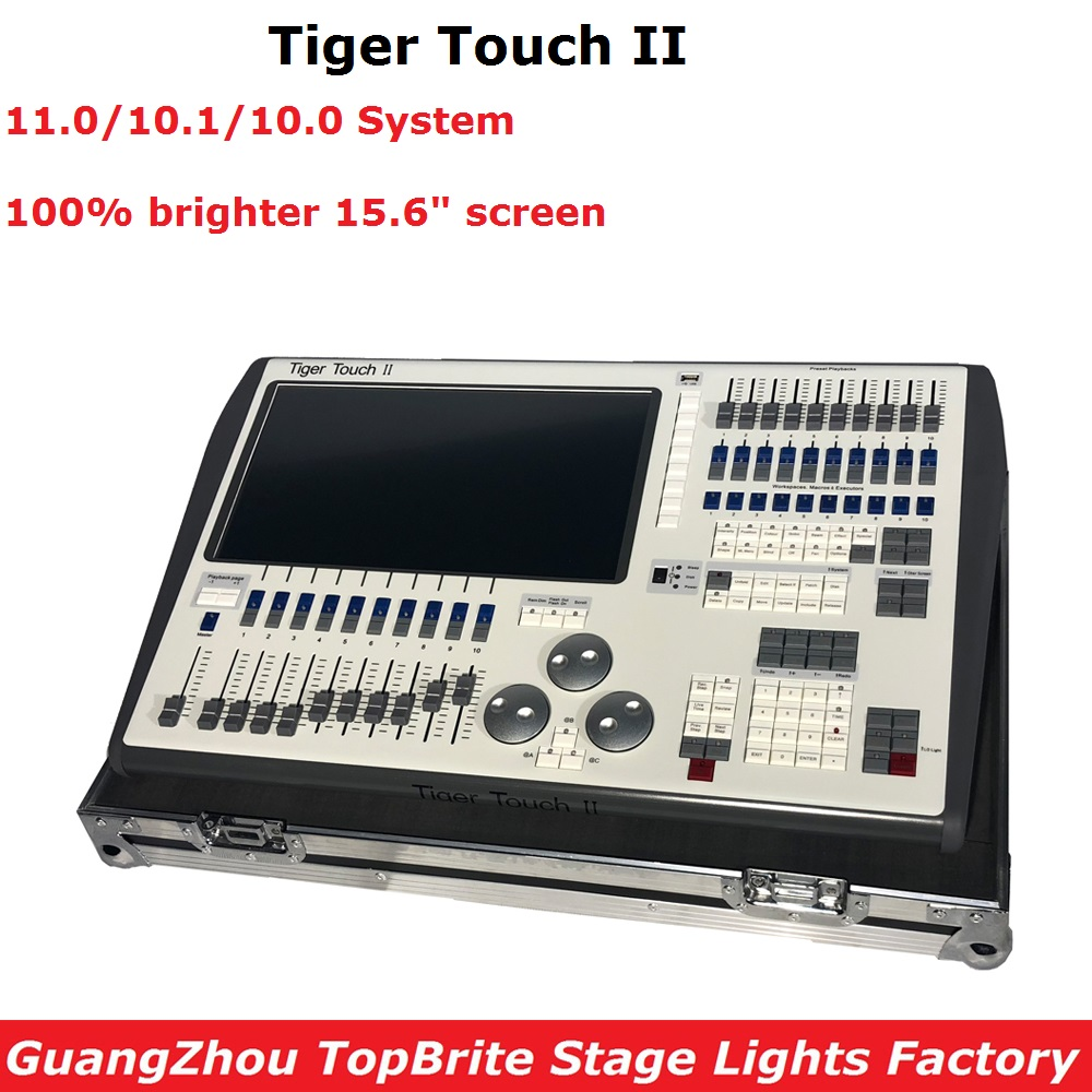 Tiger Touch II Controller 11.0 System DMX Lighting Console Controller For Stage Lighting DJ Equipments With Flight Case Packing high quality ma controller ma onpc commond wing dmx lighting console 1536 channels with flight case