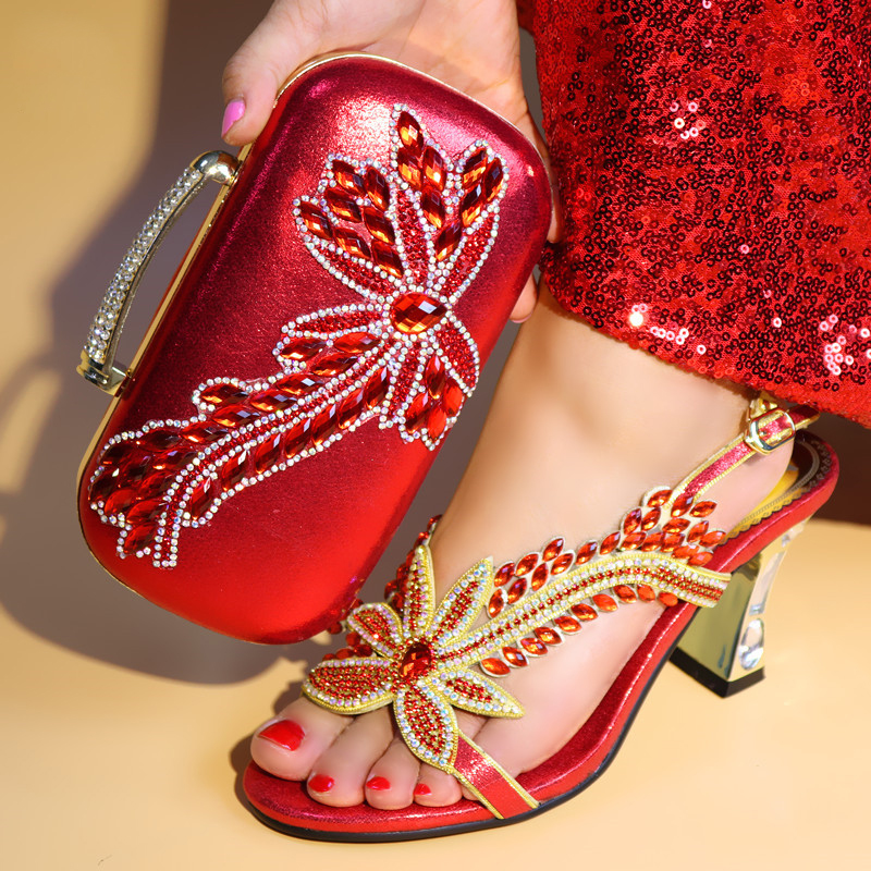 Red color African Lady sandals and bag