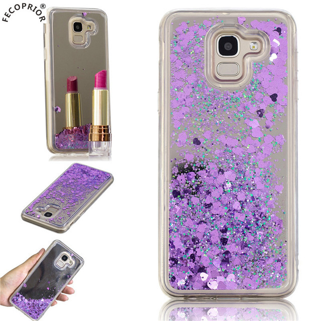 Fecoprior J 6 Case For Samsung Galaxy J6 2018 Back Cover Mirror Glitter Liquid Quicksand Shining Fundas Coque Celulars Capa