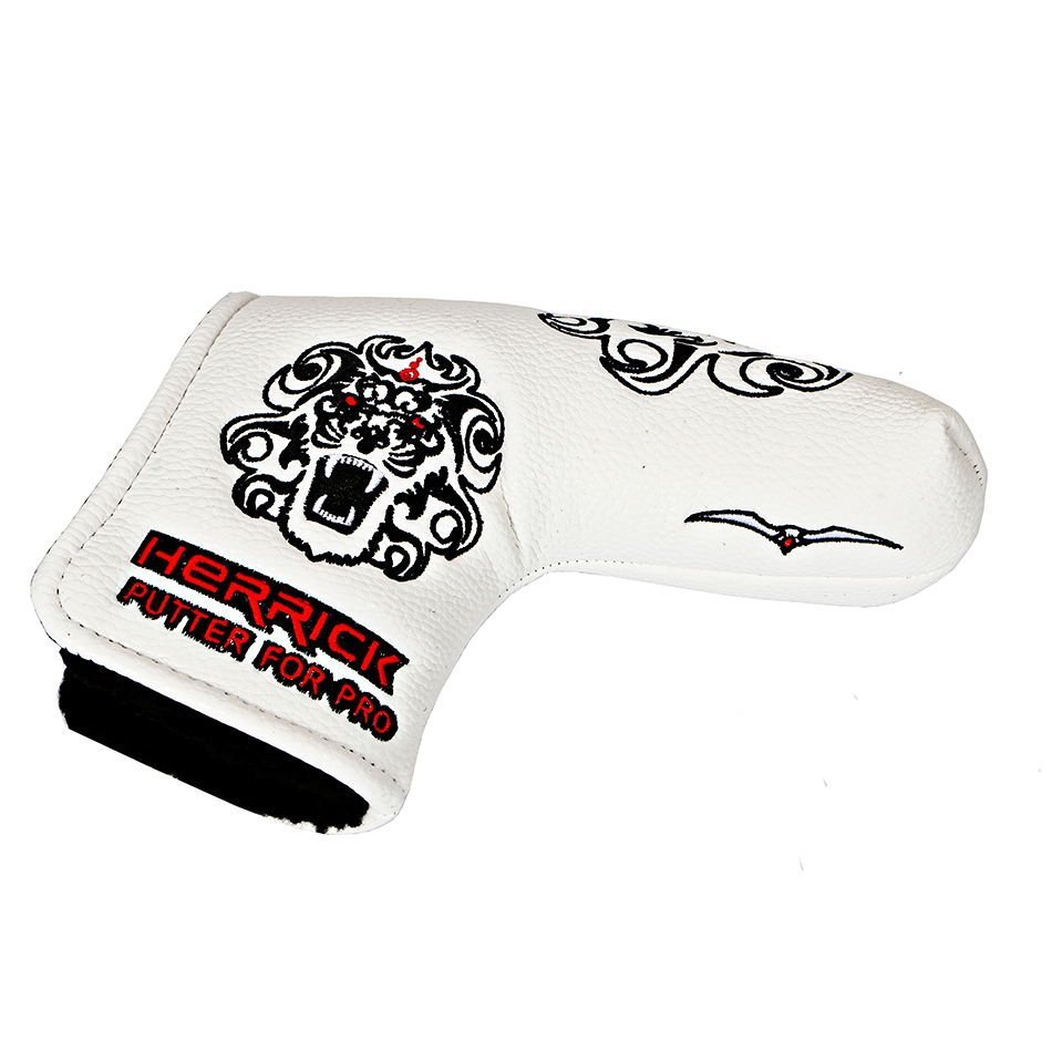 Купить с кэшбэком golf Putter Cover Lion's head pattern Headcover  with  Blade Style white/black to choose free shipping