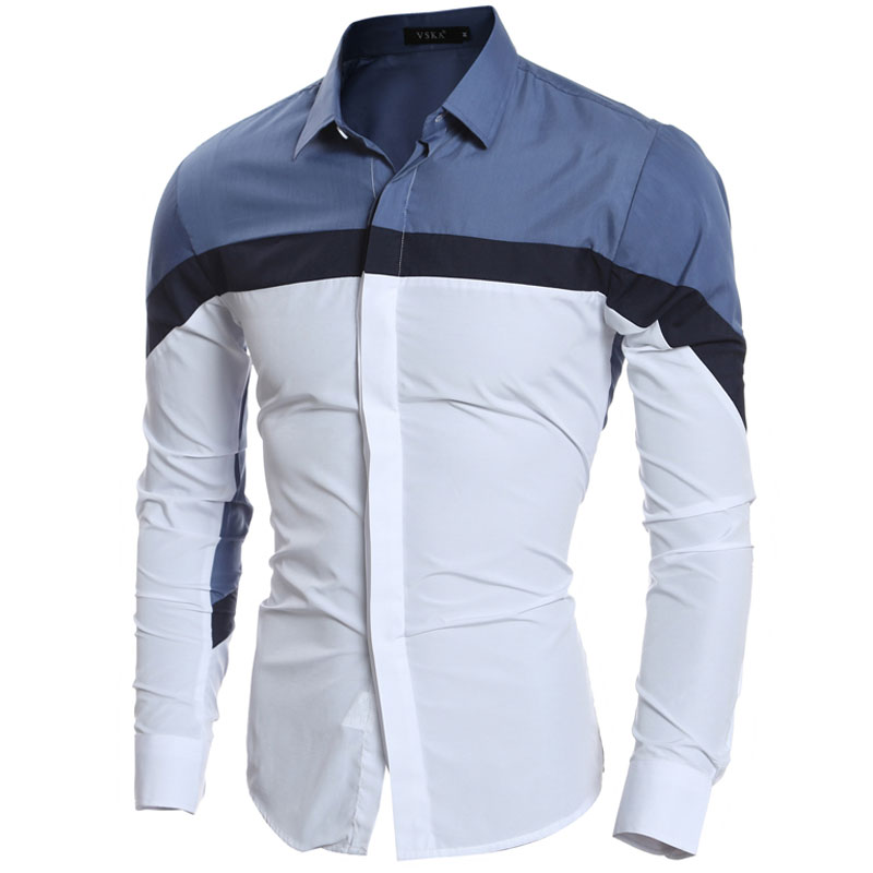 Fashion Contrast Tri-color Patchwork Mens Dress Shirts Long sleeve Slim Fit Casual Social Camisas Masculinas Man Chemise homme ...