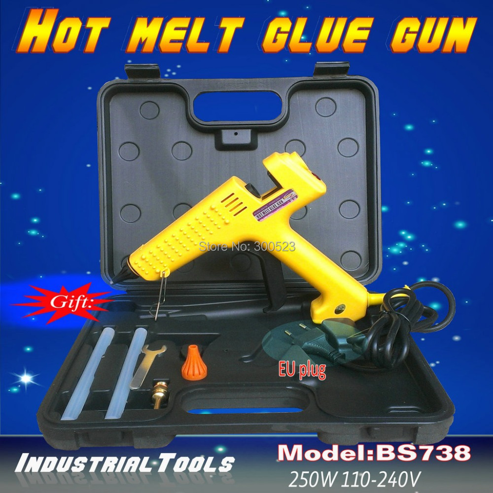 tool bag:250 watt Hot melt glue gun, plus 4 gift,1 pcs/lot, free shipping hot melt glue gun 250 watt adjustable thermostats us plug 100 240v plus 5 transparent glue stick free shipping 1 pcs lot