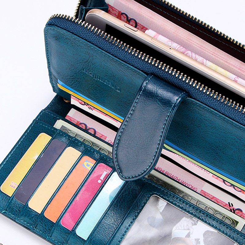 Купить с кэшбэком Brand Wax Oil Real Leather Women Wallet Large Compartment Long Leather Female Clutch Purse Cellphone Bag Coin Wallet Lady