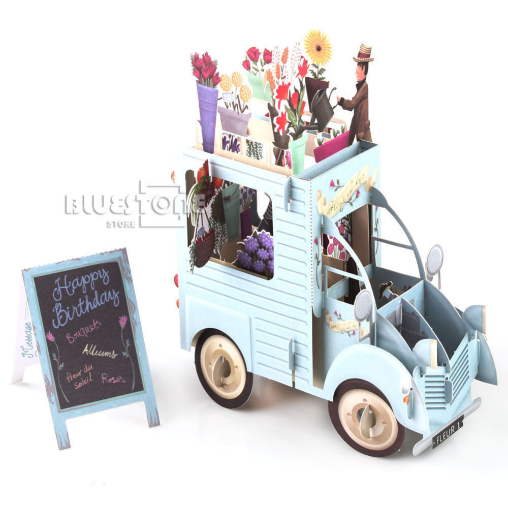 3D Pop Up Car of Flower Greeting Cards Happy Birthday Anniversary Invitations Free Shipping
