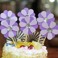 New 1pc/set cake insert dress up festival purple petal cake flash gold decorative layout party wedding supplies(China)