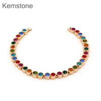 Rainbow Color Rhinestone Bracelet Gold Plated Chain Tennis Bracelets For Women 7 5