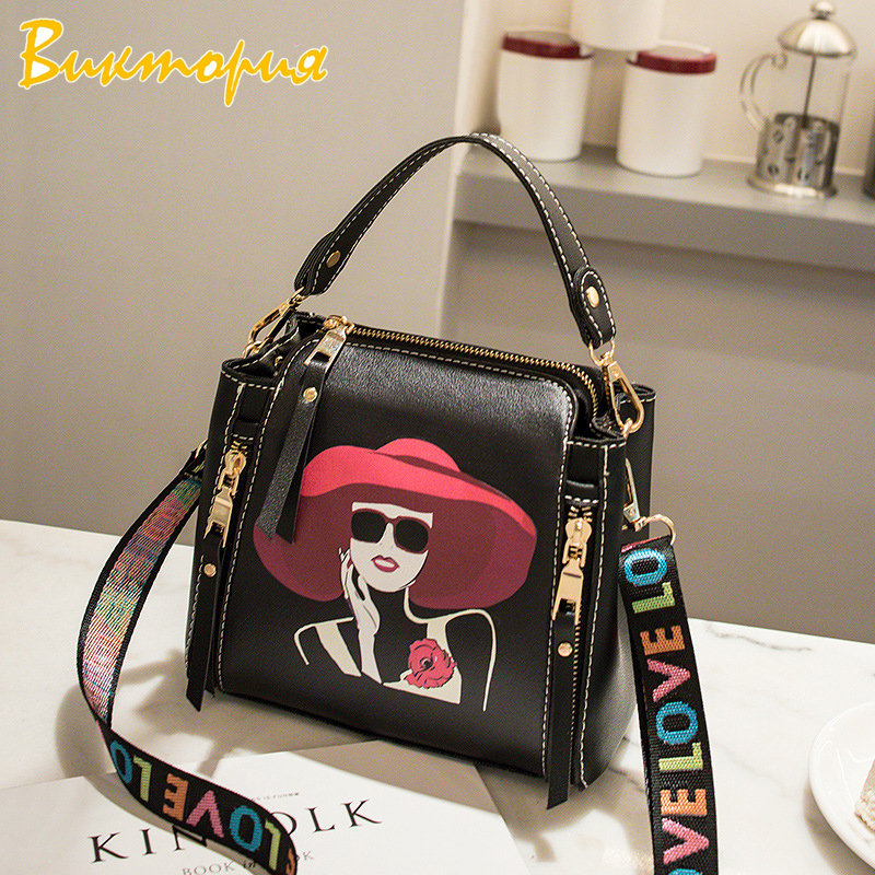 CHARAS brand women handbag Cartoon print Fashion personality Messenger Bags Colorful letter Female shoulder strap Clutch