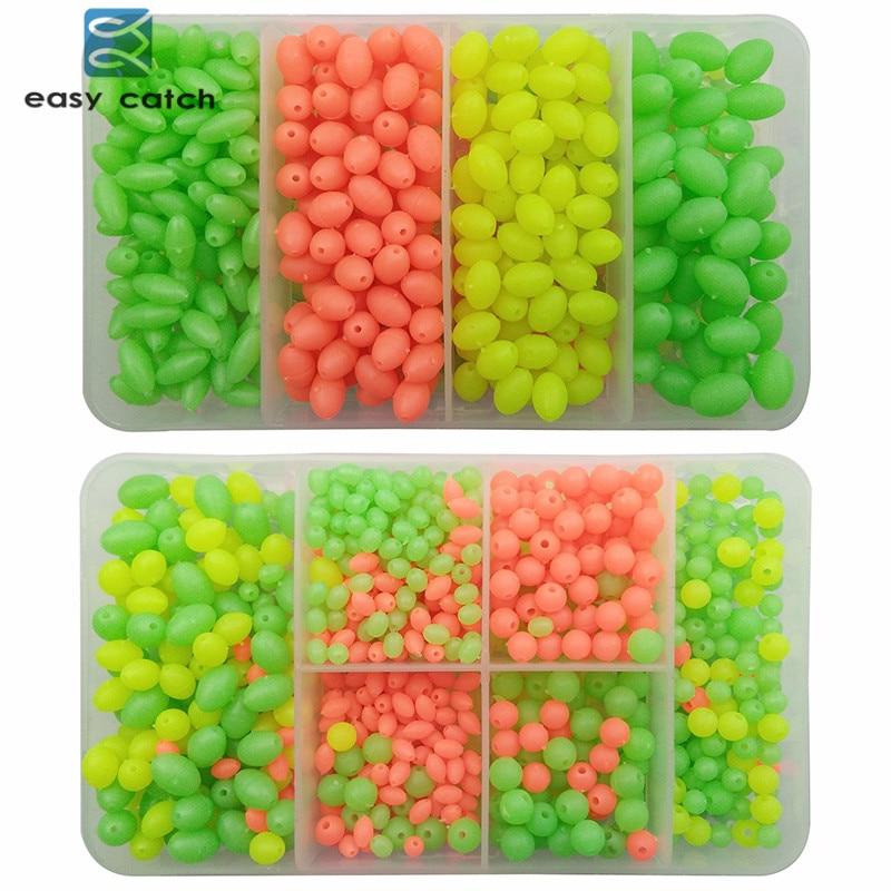 Easy Catch 1000pcs Round Oval Mixed Size Luminous Fishing Bead Orange Yellow Green <font><b>Floating</b></font> Plastic Fishing Beads Fishing Tackle