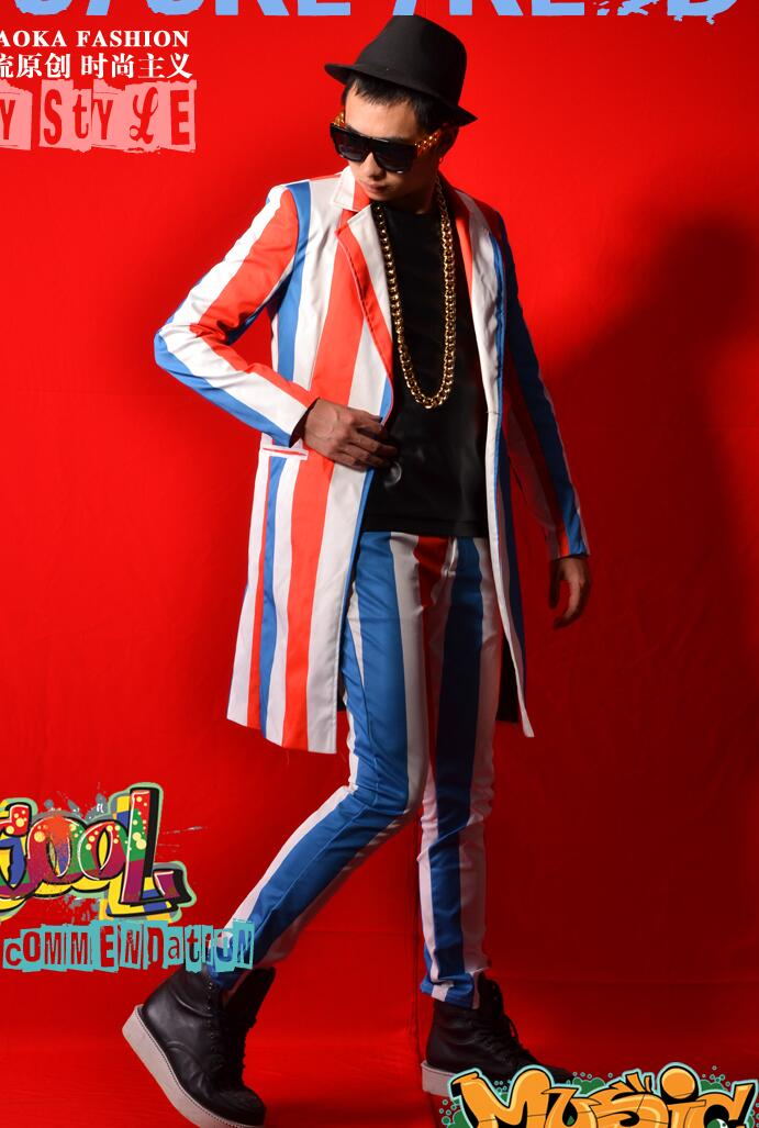 Men Suits Designs Masculino Homme Terno Stage Costumes For Singers Men Stripes Blazer Dance Clothes Jacket Style Dress Punk Rock