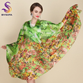 Emerald-Green Long Silk Scarf Tippet Brand Large Scarves Wraps Ladies Apparel Accessories Summer Pure Silk Scarf Beach Shawl
