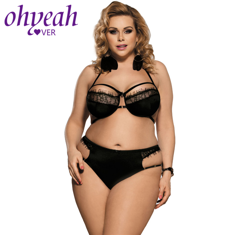 Ohyeahlover Plus Size Women Black Underwear Women Set High Waist Panty Underwire Thin Bra Sexy Bra Set 3XL 4XL 5XL 6XL RM80294