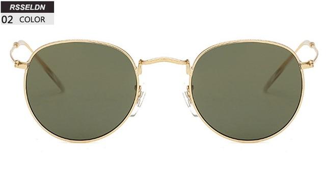 2866adee9e9 RSSELDN Retro Round Sunglasses Women Men Brand Designer Sun glasses for  Women s Alloy Mirror Glasses lentes female oculos de sol