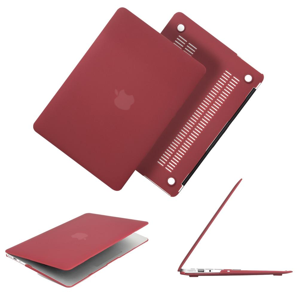 Date Vin Rouge Couleur Mat Cas Pour Macbook Air Pro Retina 11 12 13 13.3 15 15.6 pouce Dur Sac D'ordinateur Portable Cas Pour Mac Air Pro 13