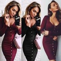 Женское облегающее платье Fation, облегающее платье-футляр с длинным рукавом на кнопках