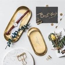 Скандинавский стиль Новая нержавеющая сталь Золотой эллиптический ювелирные изделия сковорода нордическая Бытовая приемная паллетная сковорода для торта