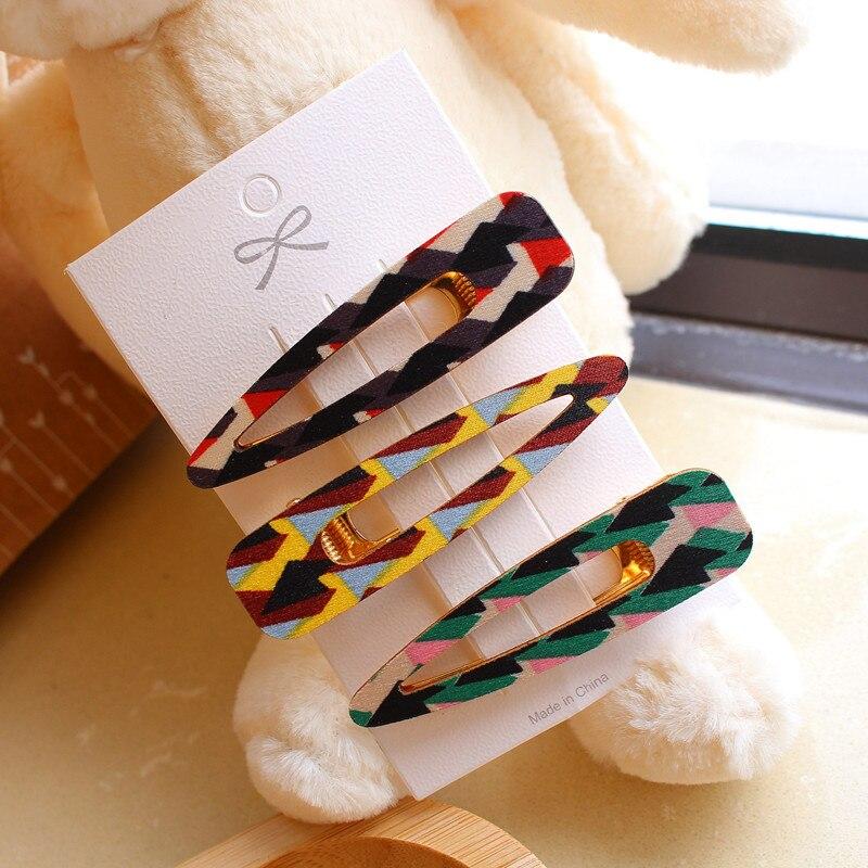 HZ 2019 New Korean Wooden Colourful Barrettes Bosnian Style Hair Pins Hair Clip Cute Headwear  Hair Accessories For Women