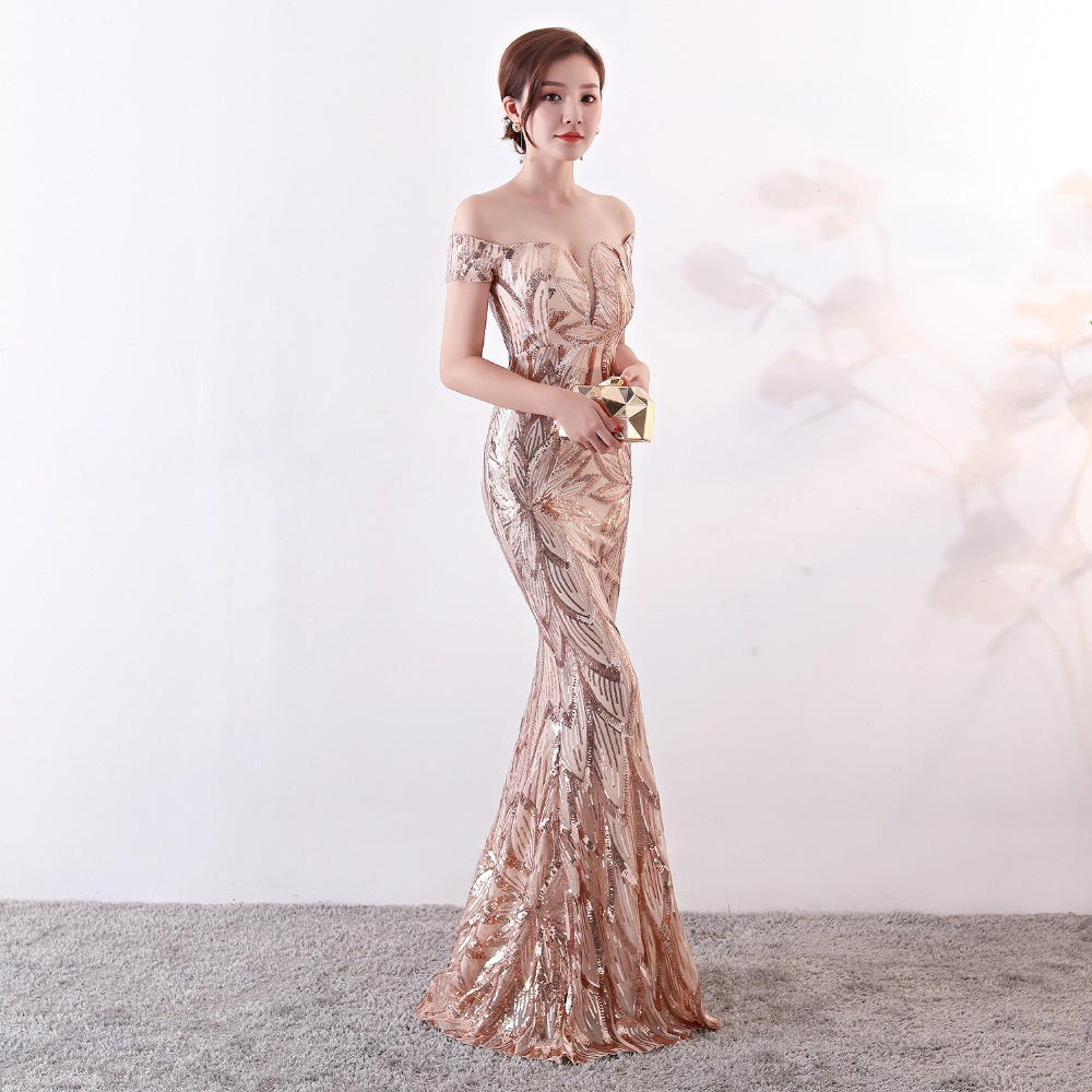 Evening dress pattern Sequin gold green mermaid trumpet short sleeve long  prom party dresses robe de soiree Vestidos CX SHINE 25b2bc73755a