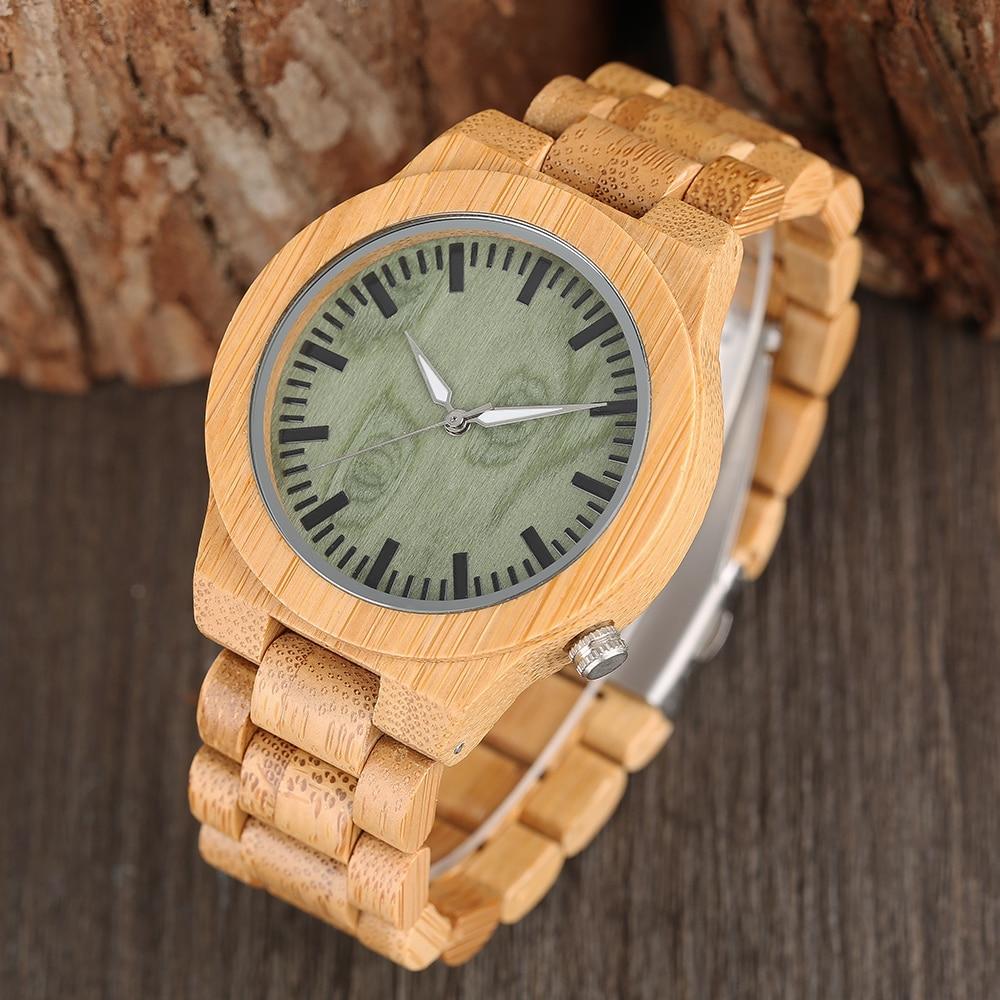 Creative Νωπά πράσινο Dial Ξύλινο ρολόι χαλαζία 100% Φυσικό χειροποίητο ανθρώπινο πλήρες ξύλο Bamboo ρολόι μόδας Casual ώρα ρολόγια