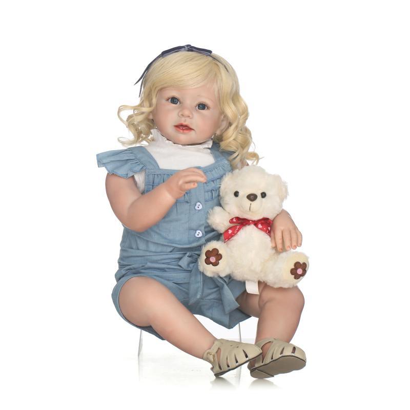 Блондинка длинный локон волосы принцессы одежда для малышей для девочек кукла 24 Новое поступление ручной работы винил реалистичные силико