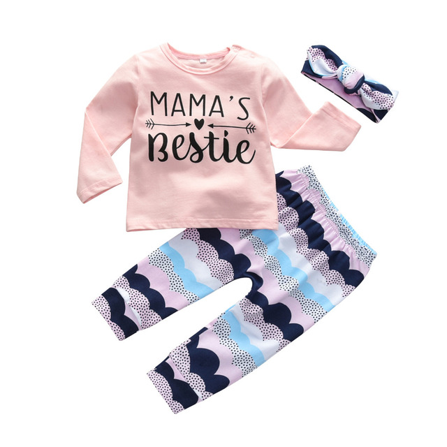 Newborn Baby Girls Clothes Cute Letter Mama's Bestie Long Sleeve T-shirt+Pants+Headband 3Pcs Outfit Suit Toddler Clothing Set