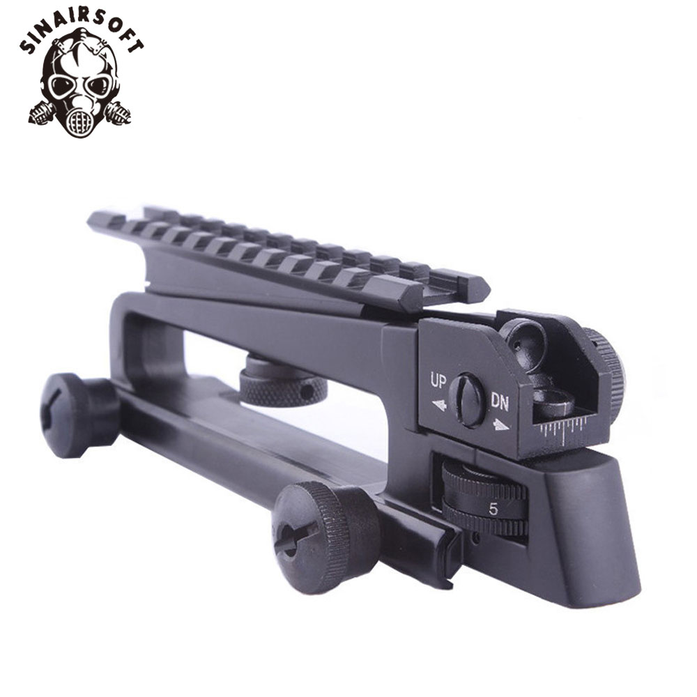 AR15 Metal Detachable Black Carry Handle Dual Apertures A2 Rear Sight and Picatinny Rail
