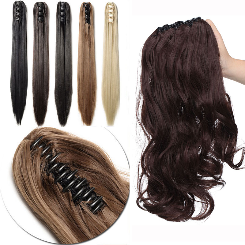 Synthetic Ponytails Fine S-noilite 22 Inches Straight Clip In Ponytail Hair Extensions Extension Ponytails Synthetic Hairpiece Black Brown Blonde Red